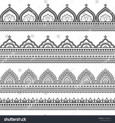 Seamless borders pattern for Mehndi, Henna drawing and tattoo. Decoration in ethnic oriental, Indian style. Mandala Art Therapy, Mandala Art Lesson, Mandala Artwork, Mandala Painting, Easy Mandala Drawing, Simple Mandala, Pattern Drawing, Pattern Art, Henna Drawings