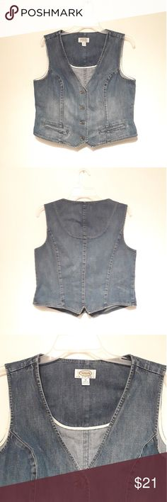 Talbots Demin Jean Vest Women Size 14P Talbots demin buttun down vest with pockets. Talbots Jackets & Coats Vests