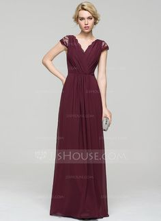 A-Line/Princess V-neck Floor-Length Ruffle Lace Bow(s) Zipper Up Sleeves Short Sleeves No Other Colors Spring Summer Fall General Plus Chiffon Evening Dress