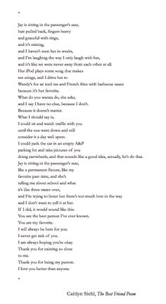 Caitlyn Siehl, The Best Friend Poem (Thank you for being my person. I love you better than anyone.) ♡