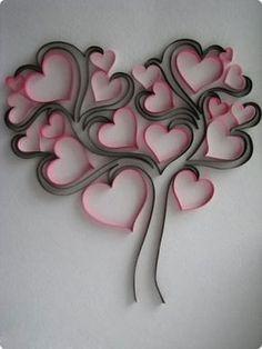 Arbol de corazones de papel Filigrana 3