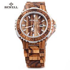 (27.09$)  Buy here  - New BEWELL Luxury Wooden Men Quartz Watch Waterproof Luminous Hands Calendar Sandalwood relogio masculino Male Dress Watches