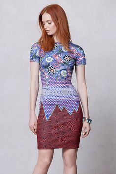 Devi Dress from Mah Na Mah Na by Jen Kao, Anthropologie Dress Outfits, Dress Up, Bodycon Dress, Unique Dresses, Short Sleeve Dresses, Redhead Fashion, Expensive Dresses, Spring Summer Fashion, Party Wear