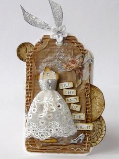 Love the dress! Can use up scrap lace and ribbon bits. Plus add a veil and bell, presto - we've got a wedding tag! ;)