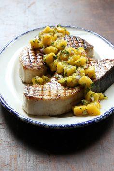 Grilled Swordfish with Mango Salsa via @SAVEURMAG