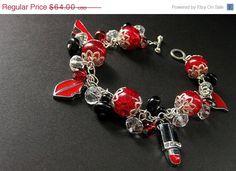 HALLOWEEN SALE  Red Charm Bracelet. Beaded Bracelet by Gilliauna