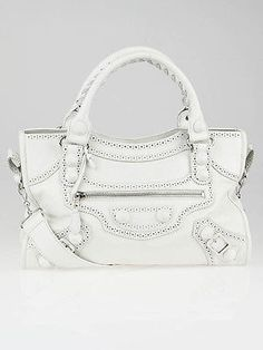 Balenciaga White Leather Giant Brogues Covered Motorcycle City Bag    $1,443,00