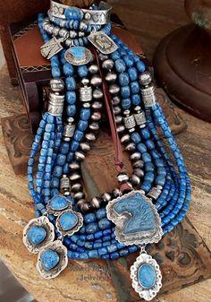 blue heavy metal Comet Bib necklace Bohemian 6mm faceted