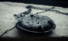 Black pendant necklace black lava pendant by CraftsGardenOfZen