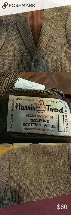 Vintage Harris Tweed Blazer 38R An extremely warm and dignified Men's Blazer. Looks great with a button down and slacks or jeans for a casual, hip look. Fabric spun and woven in Scotland and assembled in the USA. What a find! Harris Tweed Suits & Blazers Sport Coats & Blazers