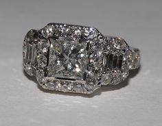 4 carat diamonds ring princess cut by diamondsfromnewyork on Etsy