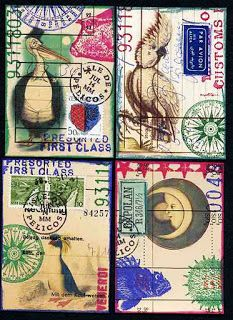 """after having made all those atcs i decided i needed more """"postal"""" stamps. now these are made after my own template and i´m happy to have th. Altered Books, Altered Art, Plan Sketch, Brain Art, Collage Techniques, Collage Art, Collages, Atc Cards, Artist Trading Cards"""