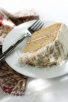 A slice of gluten-free coconut layer cake