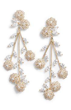 wedding earrings by kate spade - new york falling flowers statement earrings Diamond Chandelier Earrings, Rose Gold Earrings, Pearl Drop Earrings, Wedding Earrings, Statement Earrings, White Gold Bridal Jewellery, Bridal Jewelry, Long Silver Necklace, Antique Wedding Rings