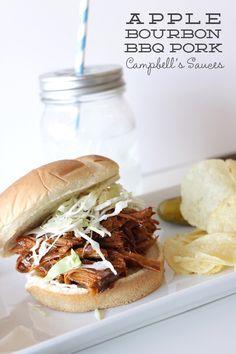 Apple Bourbon BBQ Pork Sandwich...Campbell Sauces - Petite Party Studio #campbellsauces