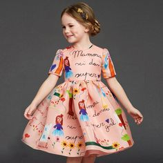 Most Expensive Designer Dresses for Mini Fashionistas: Organza Silk Drawing Dress by Dolce & Gabbana $980