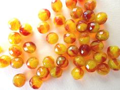 10 x 10mm Yellow and Orange Czech Glass BeadsRound by Snoochy