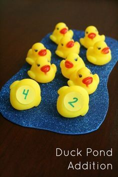 Duck Pond Addition~Hands-on Math Activity for Kindergarten and First Grade Addition & Subtraction for Kids Kindergarten Math Activities, Preschool Math, Math Classroom, Counting Activities, Math Addition, Addition And Subtraction, Addition Activities, Kindergarten Addition, Addition Games