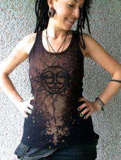 Yoga Unisex sacred Tank Top Sun black with bleach, Yoga sacred Tank Sun God Protector, Tribal Tank Sun God, Wiccan Clothing, moon and sun by WanderlustFaeriedust on Etsy https://www.etsy.com/ca/listing/271201046/yoga-unisex-sacred-tank-top-sun-black