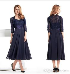 Custom Made Tea Length Mother Of The Bride Groom Dress With Jacket Long Sleeves Navy Blue Lace Plus Size Women Evening Formal Gown Mother Of The Bride Wear Mother Of The Groom Dresses Canada From Ivydress, $87.44  Dhgate.Com