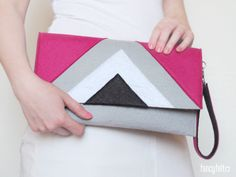 Nifty geometric gray felt clutch by FancyfeltShop on Etsy, $30.00