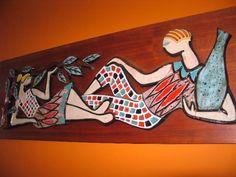 Tiles and teak backer. Four feet in length. Mid Century Wall Art, Art Tiles, Teak, Strong
