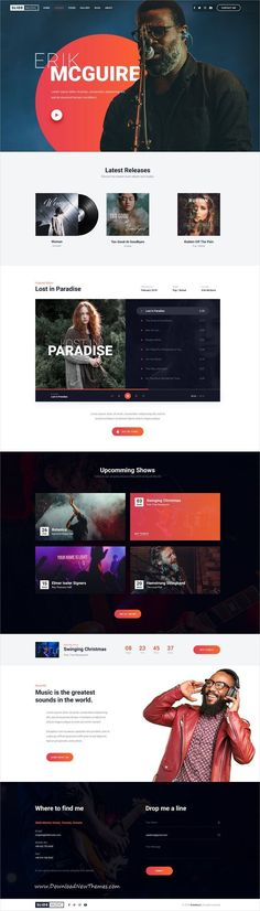 Slide is clean and modern design #PSDtemplate for #music, #bands and #artists beautiful website with albums showcase, upcoming events / tours and unique media player to live preview & download click on Visit