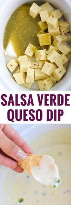 This easy, cheesy and super creamy Salsa Verde Queso Dip made in the slow cooker is the perfect no-fuss appetizer for your next game day party! (gluten free, vegetarian, low carb, crock pot)