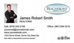 Beachfront Realty Business Cards - BRI-BC-051 - With Photo, Compact,  Small Size Photo, White