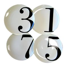 Odd Numbered Dinner Plates, Set of 4