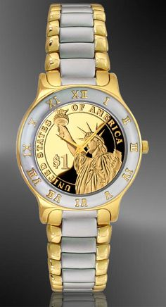 Statue of Liberty Proof Dollar Ladies Bracelet Coin Watch R323-PSLP-L2. Mirror-finish genuine proof dollar coin makes a beautiful watch dial.