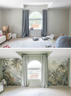 Before and after sage playroom with tropical palms mural Coral Walls, Grey Walls, Sage Green Curtains, Projector Wall, Doll High Chair, Buffalo Check Pillows, Palm Wallpaper, Green Paint Colors, Green Rooms