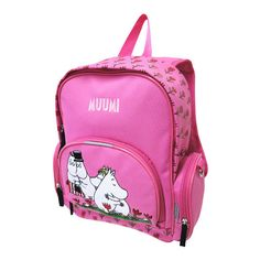A Moomin daycare-backpack with embroded Moomin-Charactesr. Front- and sidepockets with zippers and padded straps. One open pocket and one pocket with a zipper inside. Size:  24x33x11 cm.
