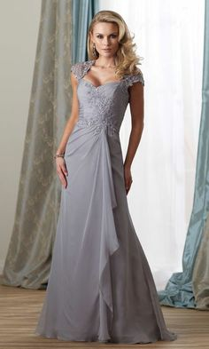 mother of the bride dresses * mother of the groom formal gowns * platinum silver grey evening gown for the mother-of-the-bride * We are based in the USA and can offer custom evening dresses like this one at an affordable cost * www.dariuscordell.com