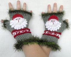 Santa Knit Cabled Fingerless Gloves  Wrist by GalinaHandmade