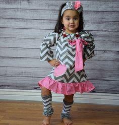 Gray Chevron w/Pink Polka Heart Boutique Dress $12.99 at www.gabskia.com