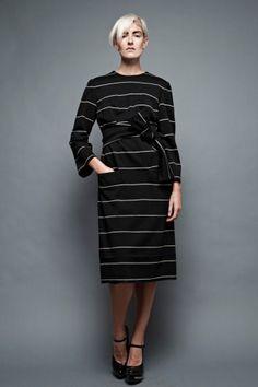 """vintage 60s Donald Brooks shift dress wool knit black white stripes obi sash belt plus size 1X (44"""" bust)"""