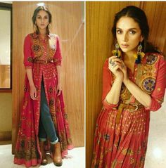 Actress wears printed flared kurta from the Festive collection. Shop the look online now Indian Fashion Trends, Indian Fashion Dresses, Dress Indian Style, Indian Designer Outfits, Ethnic Fashion, Denim Fashion, Indian Outfits, Designer Dresses, Fashion Outfits