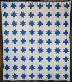 "www.Vintageblessings.com Wonderful! Antique c1920s Blue & White Stars QUILT 82"" x 70"""