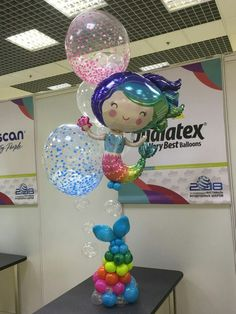 Balloon Table Centerpieces, Balloon Decorations, Mermaid Balloons, Mermaid Theme Birthday, Balloon Gift, Party Tables, Ocean Themes, Paint Chips, The Little Mermaid