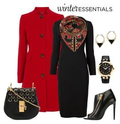 """Red and Black Coat Look"" by romaboots-1 ❤ liked on Polyvore featuring Coast, Givenchy, Chloé, Tom Ford, Sam Edelman and Versace"