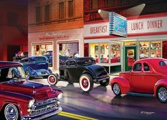 Cruisin': Phil's Diner (1000 Piece Puzzle by MasterPieces) SIMPLE PASTIMES PUZZLES