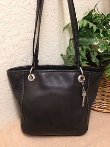 2469c1991bb0 Fossil Vintage Handbag Leather Satchel Shoulder Bag Black Signature Key Fob  VGUC