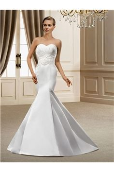 All Sizes Zipper-up Trumpet/Mermaid Sweetheart Floor-Length Elegant & Luxurious Appliques Sleeveless Wedding Dress
