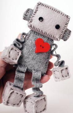 Little Robot Plush with a Big Red Heart Robot Doll by GinnyPenny
