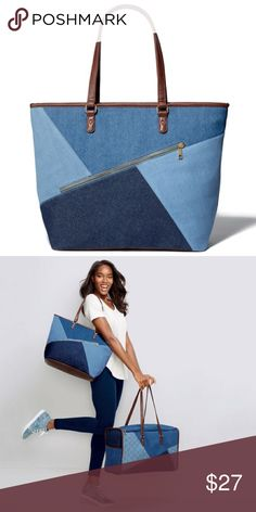 """Denim Patchwork Tote Cool blues! The multi-toned denim trend takes our bag game to the next level. This denim tote is the perfect handbag for any casual outfit. FEATURES:Double handles • Zip closure • One outer zipper, one inner zipper, and two inner slip pockets • Zipper at front is diagonal • 14"""" H x 18 1/2"""" L x 7"""" D • Navy blue lining MATERIALS • 100% Cotton CARE • Wipe clean with a dry cloth Avon Bags Totes"""