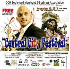 OCH Boulevard Merchant & Business Association in partnership with Ashe' Cultural Arts Center, Cafe Reconcile, and Boulevard Magazine presents... CENTRAL CITY FESTIVAL  to be held November 16, 2013  1600-1700 block of Oretha Castle Haley Blvd., N.O., La  From 11am- 6pm  Performances by Irvin Mayfield, N.O. Jazz Orchestra, Treme Brass Band, and more!  Special tribute to:  Bishop Robert Blakes Sr. Pastor John C. Raphael  THIS IS AN EVENT YOU DONT WANNA MISS... BE THERE!!! #OrethaCastleHaley…