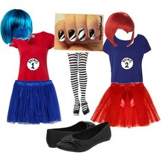 """""""Thing 1 and Thing 2 Halloween costumes"""" by taybragg on Polyvore"""