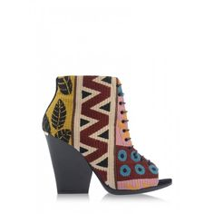 Burberry Prorsum Patterned Lace Up Bootie - Shop more outfits for a summer date: http://www.harpersbazaar.com/fashion/fashion-articles/summer-2014-date-outfits