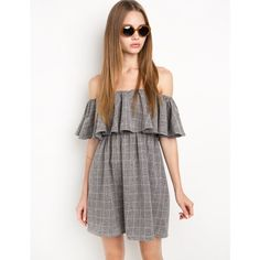 Grey Grid Off The Shoulder Dress by New Revival (13260 ALL) ❤ liked on Polyvore featuring dresses, off shoulder dress, grey dress, gray dress, elastic waist dress and off the shoulder dress